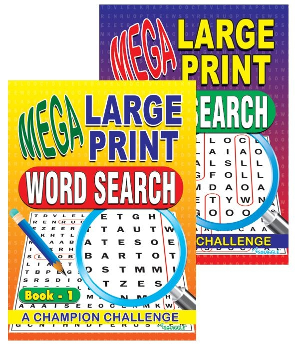 Mega Large Print Word Search Book 1 & 2