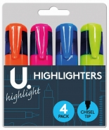 Highlighters, 4pk Assorted