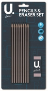 HB Pencil & Eraser Set, 8 Pencils & Eraser