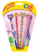 Girls Eraser Topped Pencils, 4pk