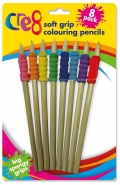 Soft Grip Colouring Pencils, 8pk