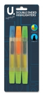 Double Ended Highlighters, 3pk