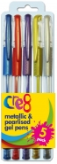 Metallic & Pearlised Gel Pens, 5 Colours