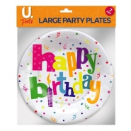 Happy Birthday Large Plates, 8pk
