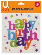 Happy Birthday Napkins, 20pk