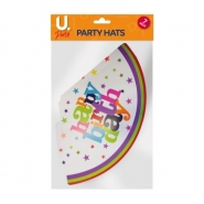 Happy Birthday Party Hats, 8pk