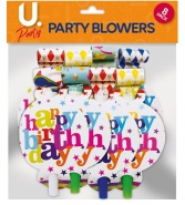 Happy Birthday Party Blowers, 10pk