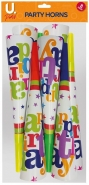 Happy Birthday Party Horns, 8pk