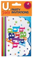 Happy Birthday Party Invitations, 8pk