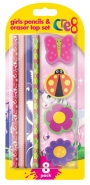 Girls Pencil & Eraser Top Set, 8pk