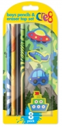Boys Pencil & Eraser Top Set, 8pk
