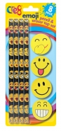 Emoji Pencil & Eraser Top Set, 8pk
