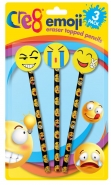 Emoji Eraser Topped Pencils 3pk