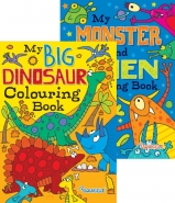 Alien Monsters & Dinosaurs Colouring Books